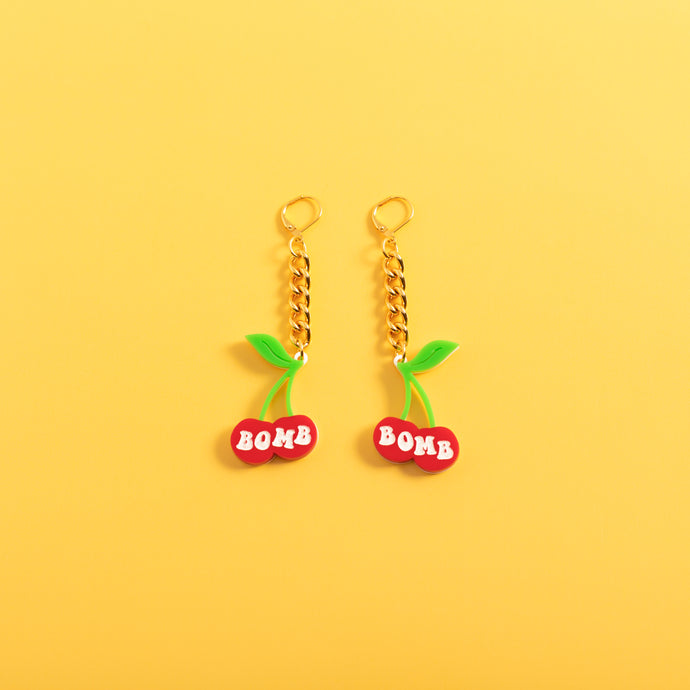 Cherry Bomb Chain Earrings,EarringMindFlowers