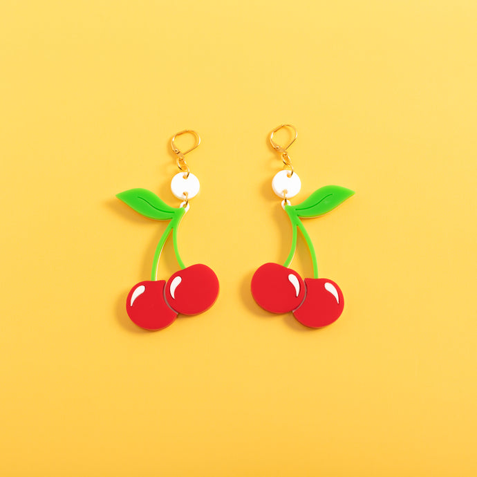 Cherry Dot & Chain Earrings,EarringMindFlowers