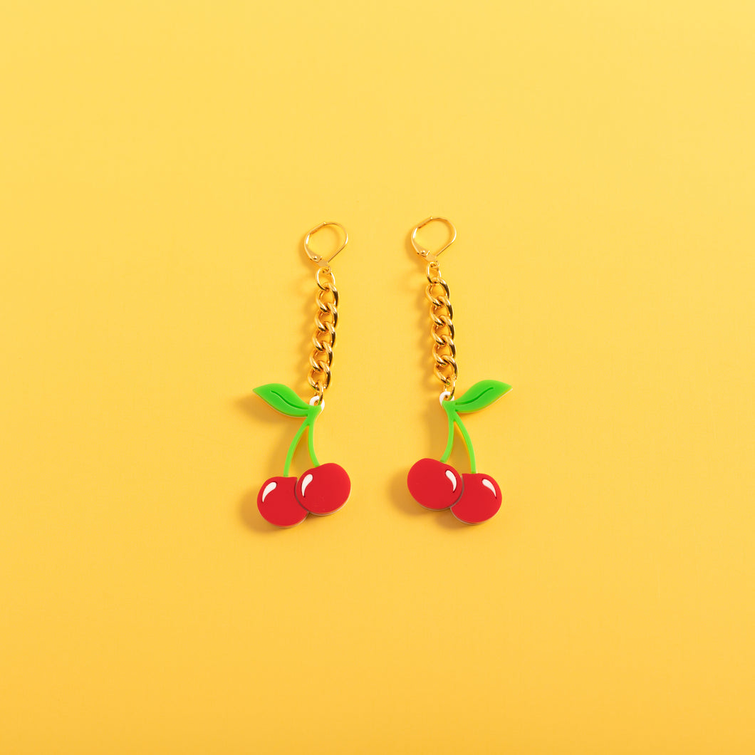 Cherry Chain Earrings,EarringMindFlowers