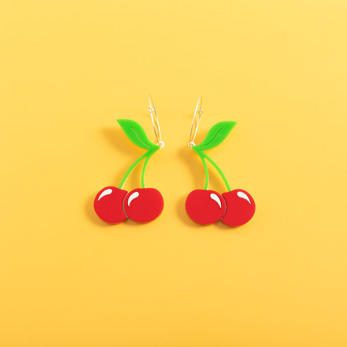 Cherry Hoop Earrings,EarringMindFlowers