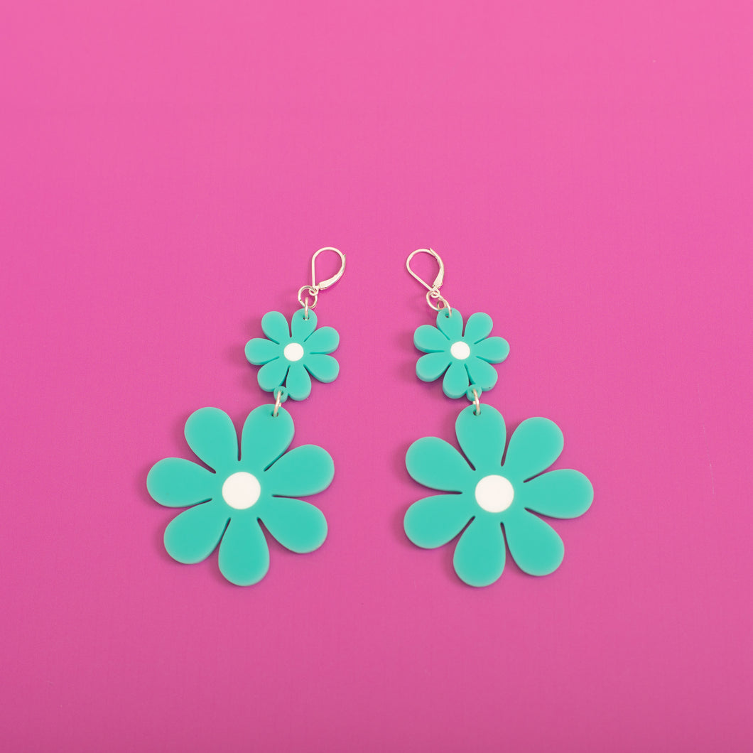 The Double Daisy Dangle Earrings,EarringMindFlowers