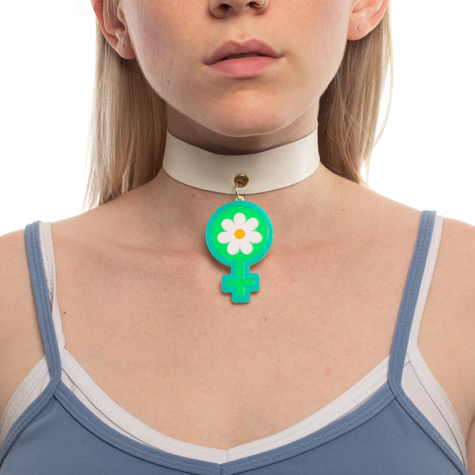 Model wearing Deadstock Leather Choker with Power of Peace Shape