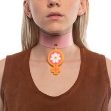 Load image into Gallery viewer, Model wearing Deadstock Leather Choker with Power of Peace Shape in a different color