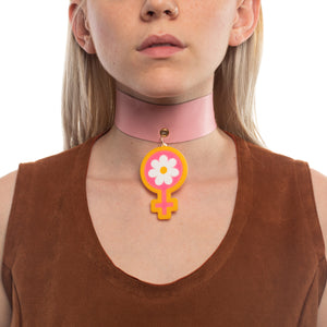 Model wearing Deadstock Leather Choker with Power of Peace Shape in a different color