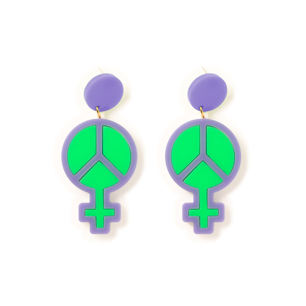 Mindflowers Power of Peace Hanging Stud Earring Lilac & Green