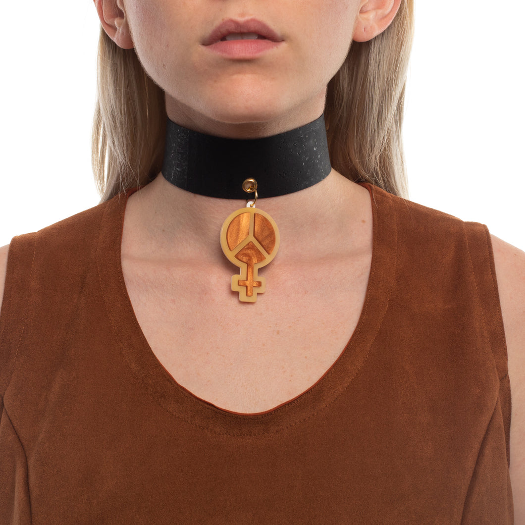Mindflowers Power of Peace Vegan Leather Choker on Model Psychedelic Brown
