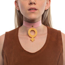 Load image into Gallery viewer, Mindflowers Venus Deadstock Leather Choker Swirl Blue On Model