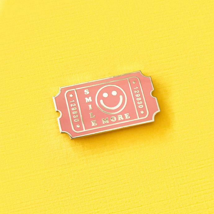Smile More Admit Ticket Enamel Pin,FlairMindFlowers