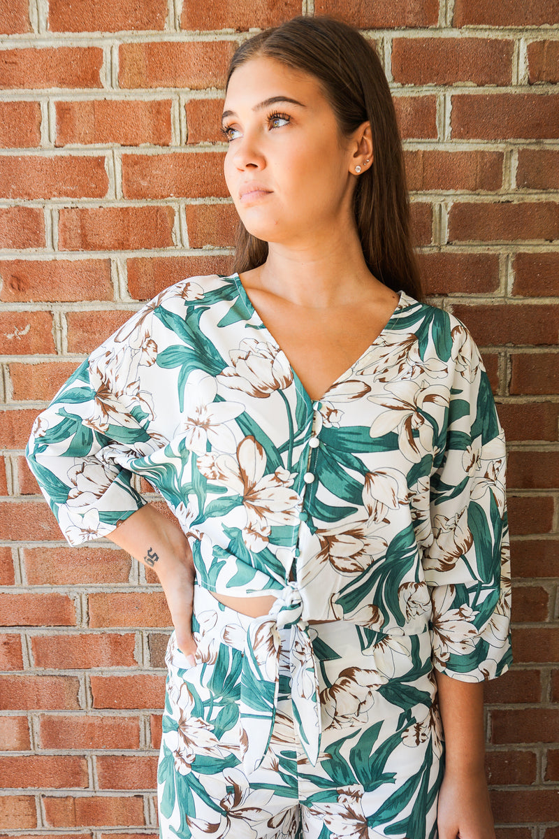 Tropic Tie Button Up Top