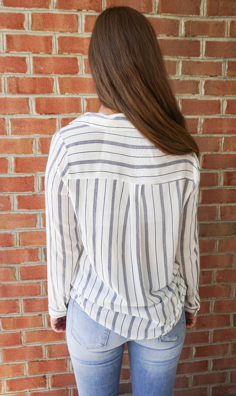 White Stripe Wrap Top