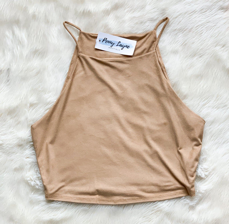 Camel Suede Crop Top