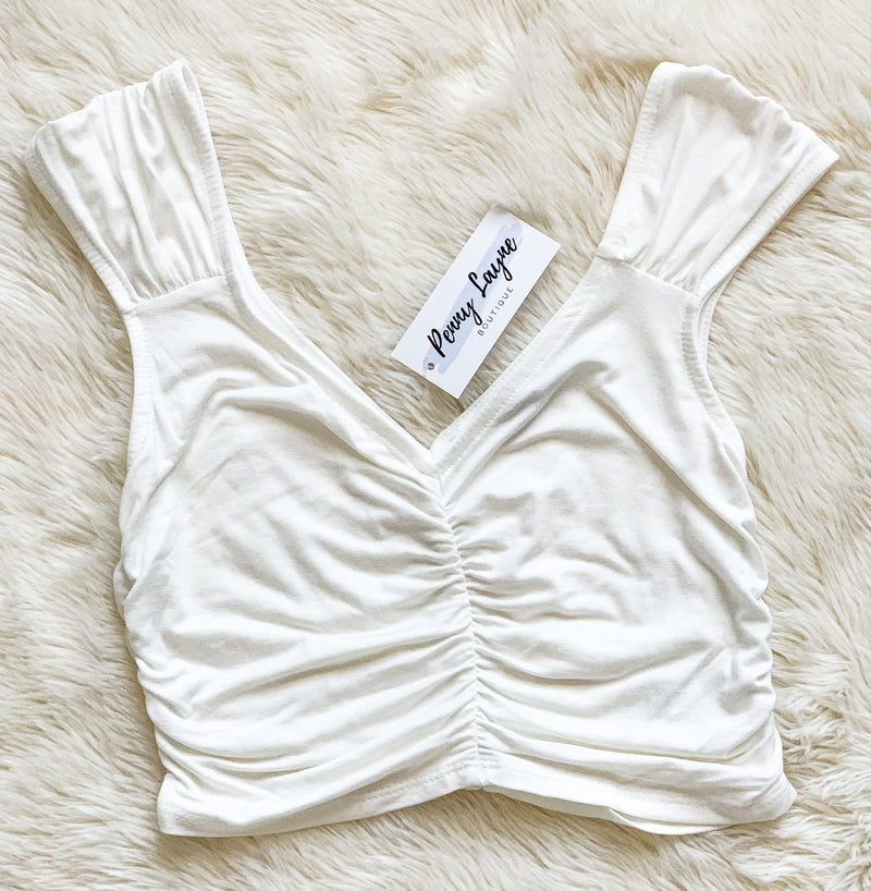 Off White Ruched Crop Top