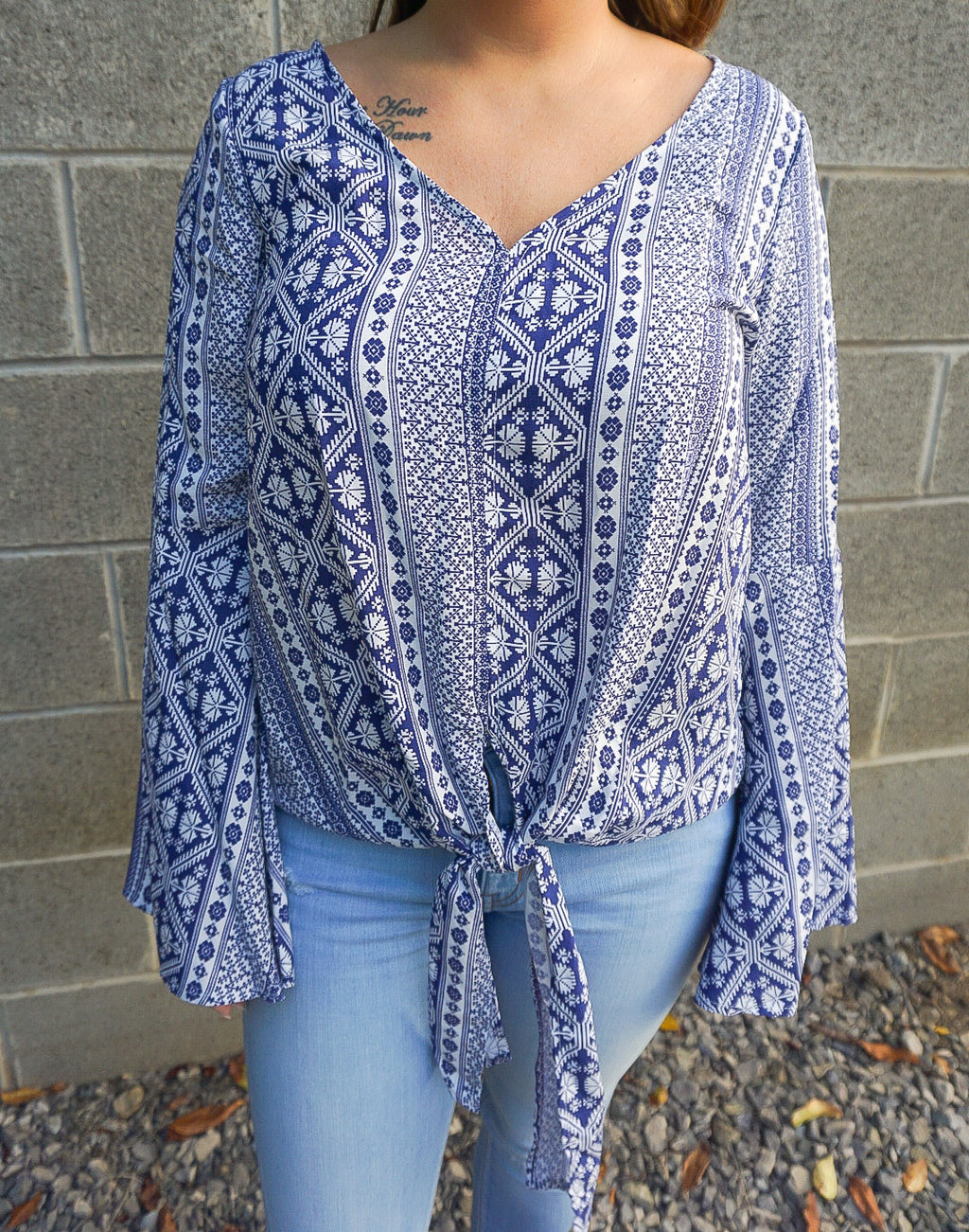 Navy Tribal Top