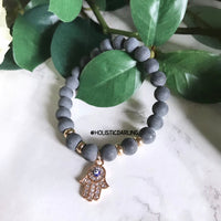 Hamsa Evil-Eye Black Agate Gemstone Bracelet