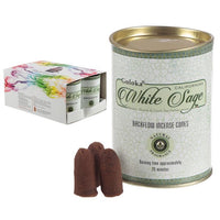 Goloka White Sage Backflow Incense Cones (x6 Tins)