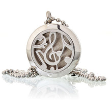 Load image into Gallery viewer, Aromatherapy Diffuser Necklace - Music Notes 25mm