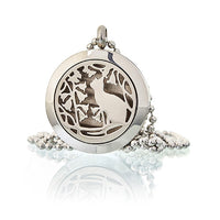 Aromatherapy Diffuser Necklace - Cat and Flowers  25mm
