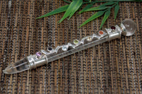 Chakra Stone & Clear Crystal Glass Healing Wand - Silver plated