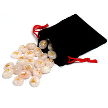 Load image into Gallery viewer, Rose Quartz Runes Set with Pouch