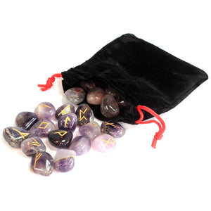 Amethyst Runes Set with Pouch