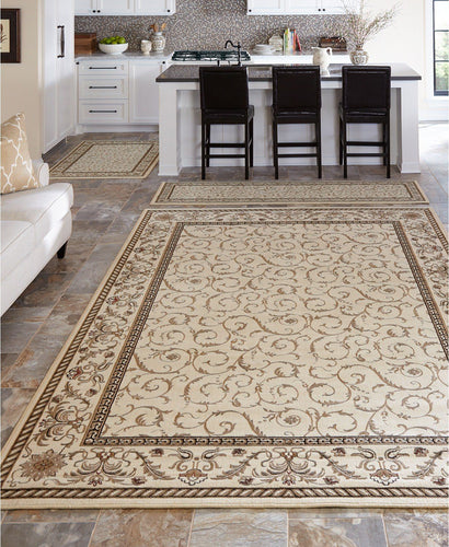 Area Rugs - Roma Closeout Damask Ivory