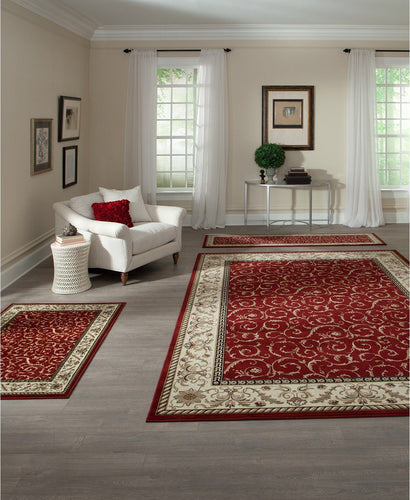 Area Rugs - Roma Closeout Damask Red