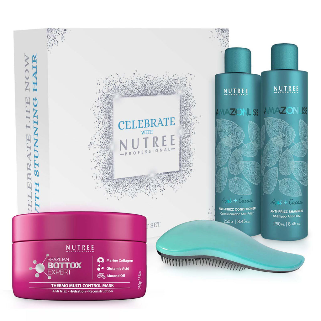 Gift Set of Amazonliss After Care Anti Frizz Shampoo and Conditioner, Hair Bottox Expert Thermal Mask and Original Detangling Hairbrush