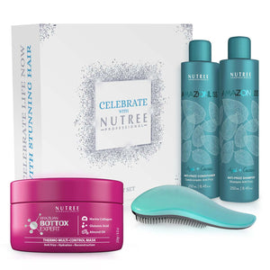 Gift Set of Amazonliss Home Care, Hair Bottox Expert Thermal Mask and Detangling Hairbrush