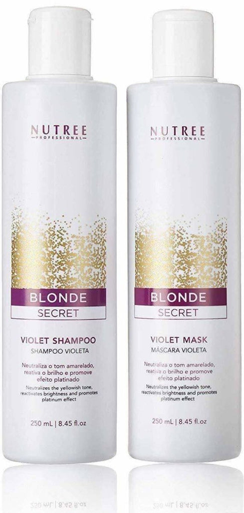 Blonde Secret Violet Shampoo and Mask Set for Blondes 8.45 fl.oz / 250 ml - Nutree Cosmetics property of 365 SUN LLC.