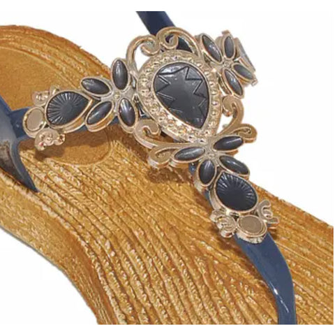EVE WOMEN'S SANDALS Bling with jewel design Toe Thong New! Navy 1376.