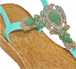 EVE WOMEN'S SANDALS Bling with jewel design Toe Thong New! Turquoise 1376.