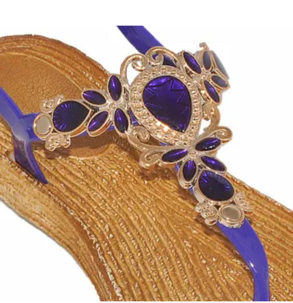 EVE WOMEN'S SANDALS Bling with jewel design Toe Thong New! Purple 1376.