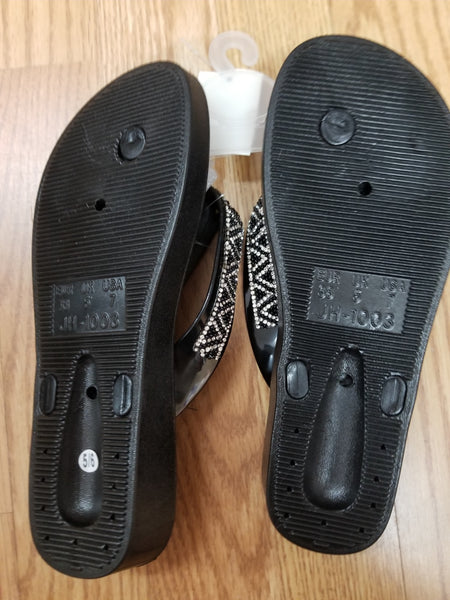 EVE WOMEN'S SANDALS Bling Studded Flip Flops Toe Thong- BLACK 2041.