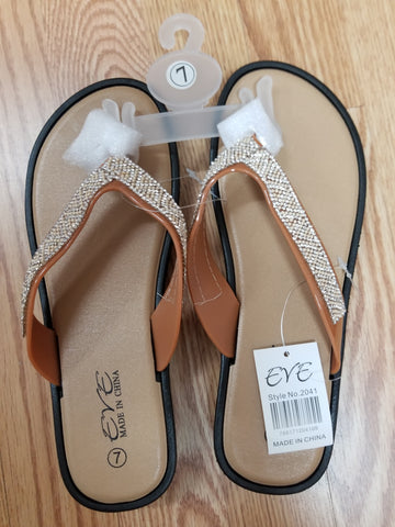 EVE WOMEN'S SANDALS Bling Studded Flip Flops Toe Thong- TAN