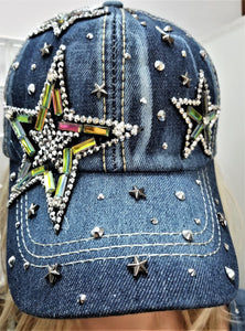 DENIM w/ RHINESTONES COLORFUL STAR BALL CAP