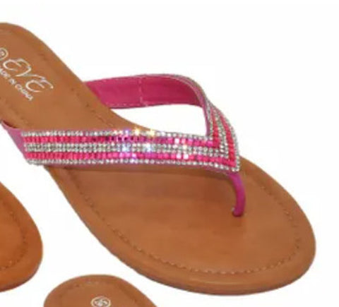 EVE WOMEN'S SANDALS Bling Studded Flip Flops Toe Thong New! Pink 2052.