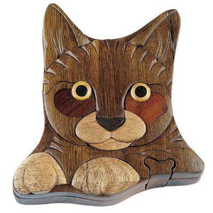 Hand Carved in Vietnam Wood CAT Puzzle Box- Intarsia Wood Art.