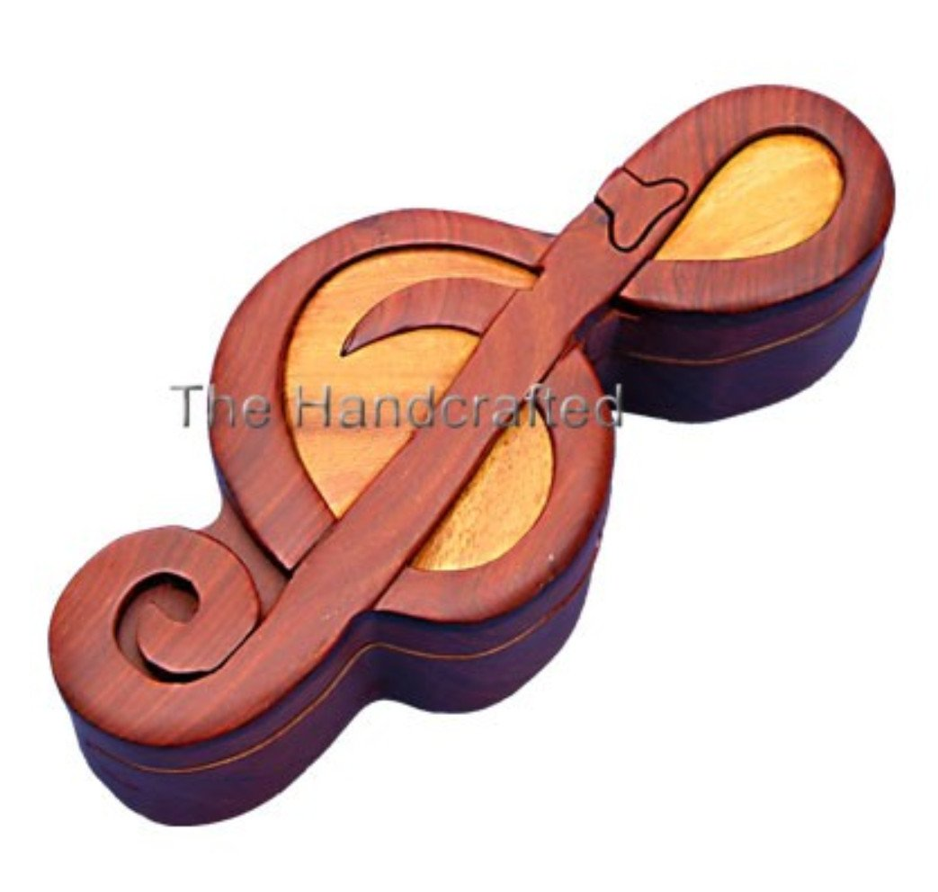 Hand-Carved-in-Vietnam-Wood-Treble Clef-Puzzle-Box-Intarsia