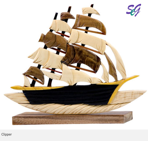 Clipper Ship Intarsia Wood Table Decor.