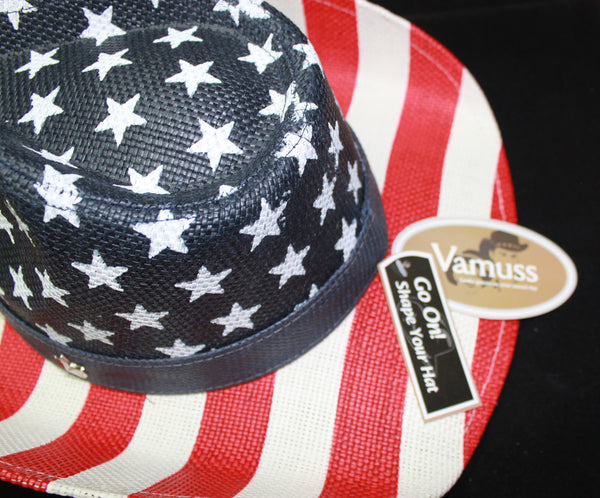 Toyo American Flag Star Studded Straw USA Cowboy Hat