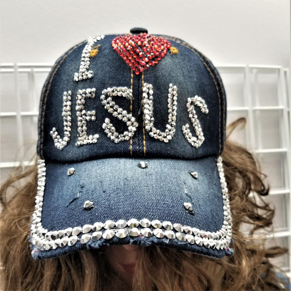 DENIM w/ RHINESTONES I LOVE JESUS BALL CAP
