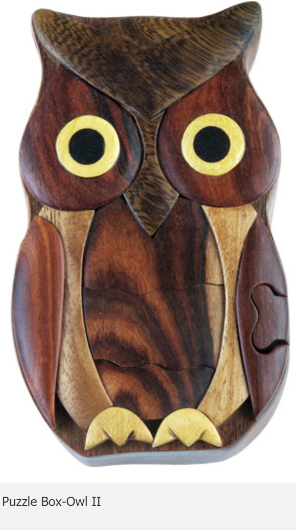 Owl II Secret Intarsia Wood Puzzle Box.