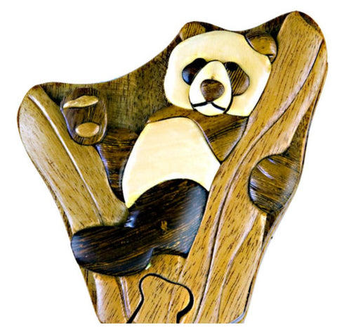 Hand-Carved-in-Vietnam-Wood-Panda Bear-Puzzle-Box-Intarsia-Wood