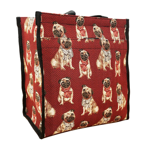 Signare Womens Tapestry Shopper Bag Tote Pug Dog.