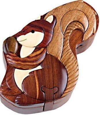 Squirrel Secret Wood Intarsia Puzzle Box-Intarsia-Wood
