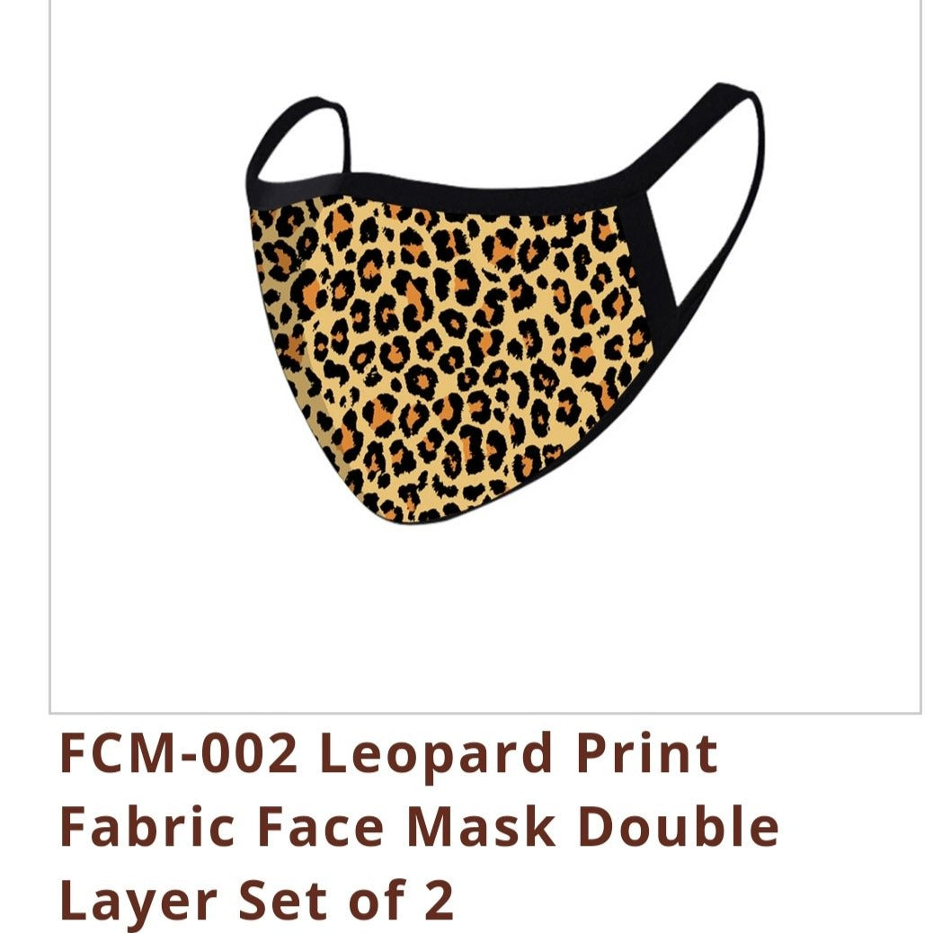 FASHION FACE MASK Washable Reusable Montana West Style Leopard Print.