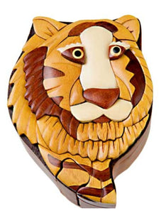 Four Piece Tiger INTARSIA Wood Puzzle Box