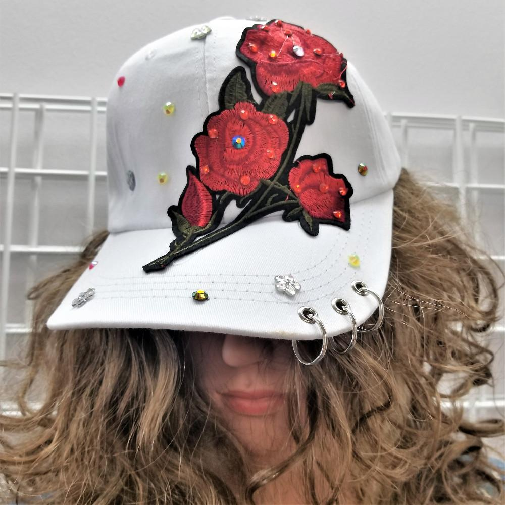 WHITE EMBROIDERED ROSE Ladies Ball Cap
