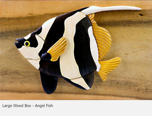 Intarsia Wood Large Wood Box Angel Fish.
