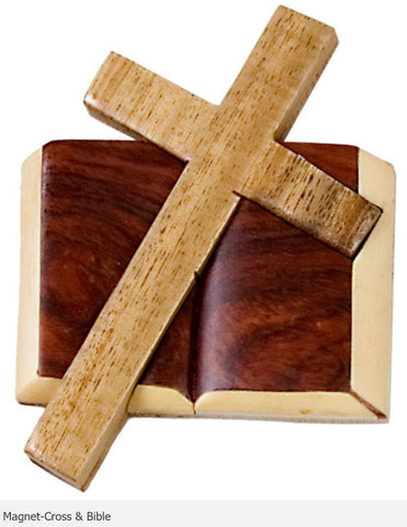 Intarsia Wood Magnet-Cross & Bible.